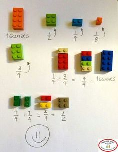 Stefan Keuchel on Fractions with LEGO :] Learning Activities, Kids Learning, Activities For Kids, Math For Kids, Diy For Kids, Simple Math, Easy Math, Math Fractions, Teaching Math