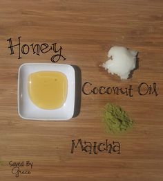 oconut oil for 10 seconds in the microwave. Mix coconut oil, vinegar and matcha powder together. add vitamin e oil and honey and make a past...