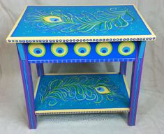by Lisa Frick ~ This Peacock Feather Side Table was a custom order, but I would like do another, different colors maybe, to make it unique. Contact me on Etsy if you are interested. Hand Painted Chairs, Whimsical Painted Furniture, Hand Painted Furniture, Funky Furniture, Paint Furniture, Upcycled Furniture, Furniture Makeover, Painted Tables, Furniture Ideas