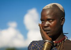 Bodi Tribe Woman With Hair Decorated With Ashes, Hana Mursi, Omo Valley, Ethiopia