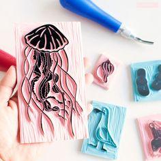 La medusa + gaviota y caracola, colección Verano; by Sami Garra