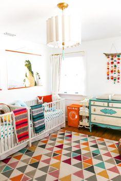 Twin Baby Rooms, Toddler Rooms, Baby Bedroom, Boy Toddler, Twin Room, Twin Nurseries, Bedroom Boys, Childrens Bedroom, Bright Nursery