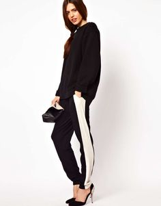 ASOS Peg Pants with Side Stripe