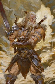 - Barbarian Studies done: photography - male torso and arms Ruan jia paintings - color palette, and color handling design - barb Concept Art Fantasy Male, High Fantasy, Fantasy Warrior, Fantasy Rpg, Medieval Fantasy, Fantasy Artwork, Dnd Characters, Fantasy Characters, Fantasy Character Design