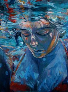 Grace .  Art. Original Underwater Painting .  Home & Living Decor // 30 x 40. $950.00, via Etsy.