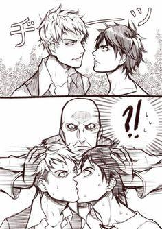 Attack on Titan Shingeki no Kyojin - JEAN KIRSCHTEIN x EREN JAEGER, someone finds a way to make them up ;)