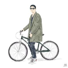 Street snap illustration. Wear by @whiz1976 下野宏明 日本東京  #illustration #jianjian #taiwan #streetsnap #streetstyle #xmas #menwear #hat #lovely #art #lookbook #artoftheday #artwork #snapshot #instagood #instaday #bike #wear #japen #tokyo #whizlimited #green #hiroakishitano