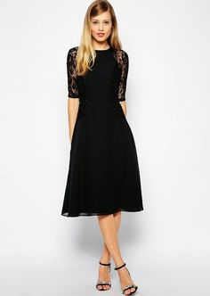 Shop ASOS Midi Skater Dress with Lace Panels. With a variety of delivery, payment and return options available, shopping with ASOS is easy and secure. Shop with ASOS today. Midi Skater Dress, Black Midi Dress, Dress Skirt, Lace Dress, Dress Up, Modest Black Dress, Black Dress For Funeral, Cocktail Dress Modest, Funeral Outfit