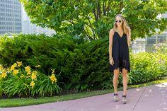 Black Lace Dress & Wedges —via @TheFoxandShe