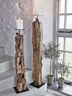 Driftwood Floor Candle Holders Our beautifully hand-crafted driftwood candle holders are undeniable statement pieces. The post Driftwood Floor Candle Holders appeared first on Rustikal ideen. Driftwood Candle Holders, Driftwood Centerpiece, Rustic Candle Holders, Floor Candle Holders Tall, Candle Holder Decor, Candle Stand, Candlestick Holders, Driftwood Flooring, Driftwood Lamp