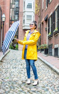 LovePlayingDressup-Neha-Gandhi-WilsonsLeather-YellowRainParka-Jcrew-Gingham-Blue-Shirt-striped umbrella-yellow jacket - Rain OOTD.