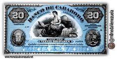 Billete 20 Bolívares año 1883. Banco de Carabobo