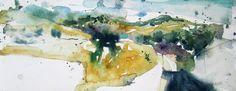 Campos de Alcaudete Acuarela sobre papel Watercolor -  Aquarelle