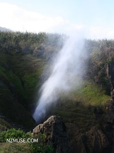Must be full tide! Ocean spray blasting up through the holes at the Pancake Rocks, Punakaiki