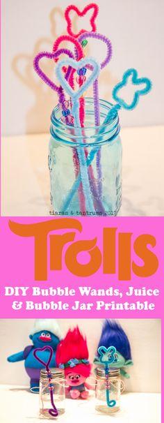 TROLLS DIY Bubble Wands  | DIY Bubble Juice | DIY Bubble Jar Printable | http://www.tiarastantrums.com/reviews/dreamworks-trolls-family-move-night-ideas #TROLLS #BubbleWand #DIY #BubbleJuice #BubblejarPrintable #BubblePrintable