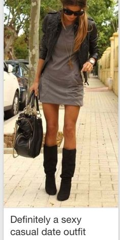 simple grey dress with boots & biker jacket Great outfit Cute Fashion, Look Fashion, Womens Fashion, Fall Fashion, Street Fashion, Fashion Wear, High Fashion, Latest Fashion, Luxury Fashion