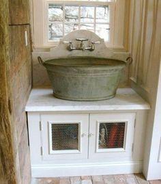 washing tub as bathroom sink
