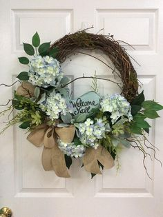 summer door wreath front door hydrangea wreath bird wreath