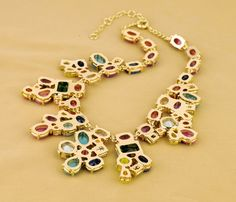 Colorful Chain Necklace With Nice Artificial Gemstones