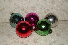 5 Vintage Plastic Ball Christmas Ornaments - Faceted