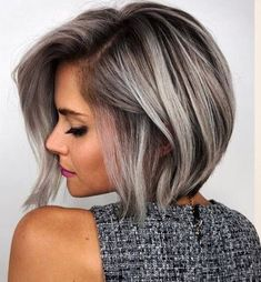 20 attractive hairstyles for a special night - hairstyles 2019 - . - 20 attractive hairstyles for a special night - Night Hairstyles, Elegant Hairstyles, Grey Bob Hairstyles, Short Brown Hair, Short Hair Cuts For Women, Grey Hair Bob, Gray Hair Highlights, Brown With Grey Highlights, Short Sassy Haircuts