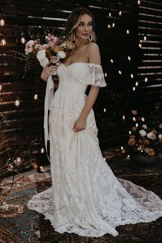 Desiree Off the Shoulder Bohemian Wedding Dress Country Style Wedding Dresses, Bohemian Wedding Dresses, Wedding Gowns, Off Shoulder Wedding Dress Bohemian, Bohemian Weddings, Indie Wedding Dress, Wedding Film, Indian Weddings, Laid Back Wedding
