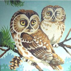 vintage paint by number | Vintage Paint by Number of Two Owls One by GoodlookinVintage