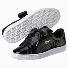 puma basket heart patent wn's sneakers basses femme schwarz
