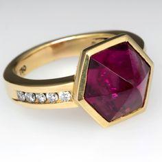 Joanne Mulhall Hexagonal Cut Rubellite Tourmaline Ring 18K Gold