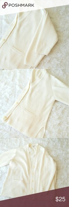 Cream oversized comfy cardigan Oversized cardigan button down with long-sleeve Sweaters Cardigans