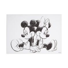 Mickey and Minnie Sketch Sitting Canvas