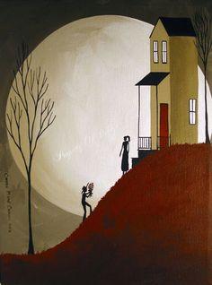 Original Painting Folk Art Full Moon Love Man Woman Roses Flowers Country Girl | eBay