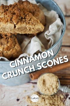 Easy to make cinnamon crunch scones are the best for a simple Christmas breakfast. With a cream scone base, topped witth a brown sugar crumb topping. High altitude info included in recipe. #thefreshcooky #bestsconerecipe #holidaybakingrecipes Best Scone Recipe, Easy Donut Recipe, Scone Recipes, Donut Recipes, Muffin Recipes, Recipe Box, Bread Recipes, Baking Recipes, Dessert Recipes