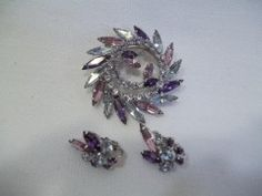 Click-Save $8.50Sherman Round Swivel Design Brooch With Clip-On Earrings Set, Violet Colors regular price $85.00 on http://greenspotantiques.com