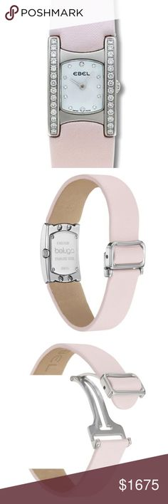 Ebel Beluga Manchette Pink Strap Diamond Watch CASE Shape:Rectangular Material:Stainless Steel Width:19 mm Water Resistance:30 m (100 feet) Crystal:Sapphire Crystal Scratch Resistant Thickness:7 mm Case Back:Screw-In Closed Case Length with Lugs:28 mm Finish:Polished  DIAL Color:White Mother-of-Pearl Hands:Silver Tone Hands Markers:Diamond Hour Markers  BEZEL Material:Stainless Steel Type:Diamond Bezel  MOVEMENT Type:Swiss Quartz (Battery-Powered) Crown:Pull and Push Crown…