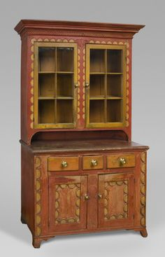 Cupboard Artist/maker unknown, American, Pennsylvania German 1800-1830 Dream Furniture, Funky Furniture, Antique Furniture, Painted Furniture, Southern Furniture, Country Furniture, Antique Chairs, Antique Decor, Cupboard Shelves