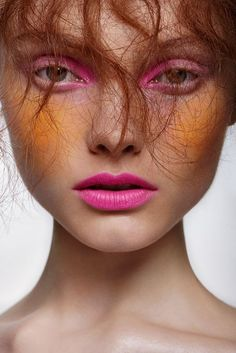 trendy makeup pink editorial colour Super creative makeup looks we love. See more ideas Pink Makeup, Colorful Makeup, Makeup Art, Makeup Eyeshadow, Beauty Makeup, Hair Makeup, Witch Makeup, Clown Makeup, Costume Makeup