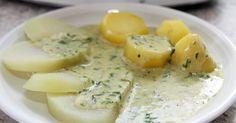 Kohlrabi-Scheiben mit Bärlauch-Soße und Kartoffeln