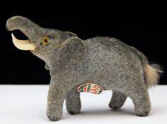 Wagner Miniature Flocked Elephant Animal Kunstlerschutz Germany Figurine w/ tag #Wagner