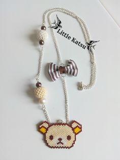 Collier Perles Tissées Mascotte Japonaise Rilakkuma et Perles Perlées : Collier par littlekatsu