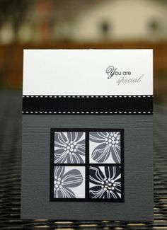 handmade card ... Eastern Blooms  flower in inchies ... black, white and gray .. quite elegant ... Stampin' Up!