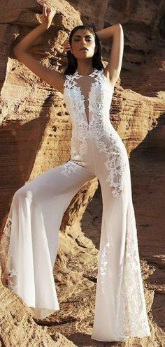 Beyaz Dantelli Plazzo Pantolon Kesimli Bayan Tulum