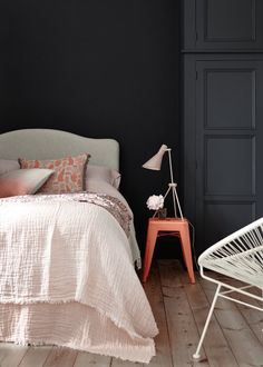 Little Greene is for people who love their home and have an interest in interior design. Home Bedroom, Modern Bedroom, Bedroom Decor, Bedroom Color Schemes, Bedroom Colors, Peinture Little Greene, Little Greene Paint Company, Blue Gray Bedroom, Black Walls