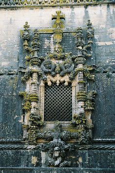 *Convento de Cristo, Tomar, PT  -  Window, Manueline style (PT: estilo Manuelino - is the sumptuous, Portuguese style of architectural ornamentation of the first decades of the 16th century, incorporating maritime elements and representations of the discoveries brought from the voyages of Vasco da Gama and Pedro Álvares Cabral)