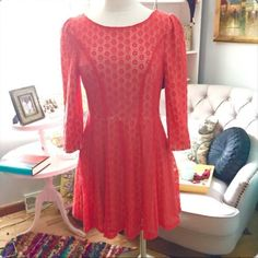 "ADORABLE LACE DOT DRESS  Adorable Gianni Bini Dress ~ Nude lined ~ Lower back ~ Perfect Spring Color ~ 34"" long ~ NWOT Trades ✅Use offer option ❤️Bundles Gianni Bini Dresses"