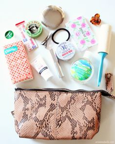 """Cute bag of """"things to always have on hand"""". I leave one at work and one in the car."""