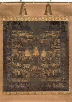 Taima Mandala Fin de l'époque Kamakura, première moitié du XIV. Couleur, poudre d'or (kindei) et feuilles d'or découpées (kirikane) sur soie. Figuration de la terre pure du buddha amida. Ce mandala s'organise autour de la triade centrale d'amida entouré de bodhisattva Kannon et Dai Seishi