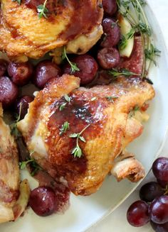 Chicken Thighs with Roasted Grape Red Wine Sauce