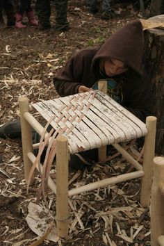 how to make a birch bark seat