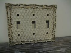 Vintage Ornate 3 Switch Switchplate Antiqued by DianesStuffForYou